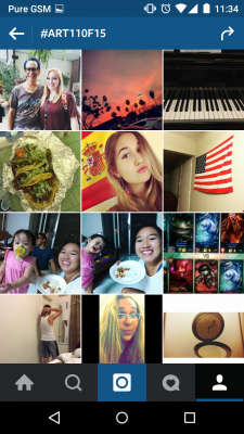 Screen cap of index of Instagram hashtag Art110f15