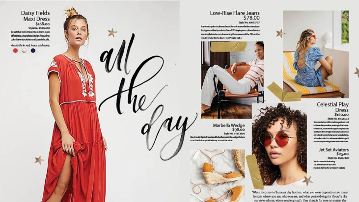 """calligraphy of the words """"all the day"""" as used in a fashion catalog spread"""