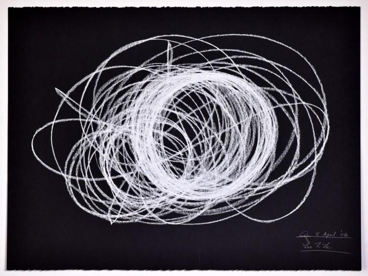 "Automatic Drawing #8, 5 April 2008, conte crayon on paper, 22x30"", Lee Tuyet Le & Glenn Zucman"
