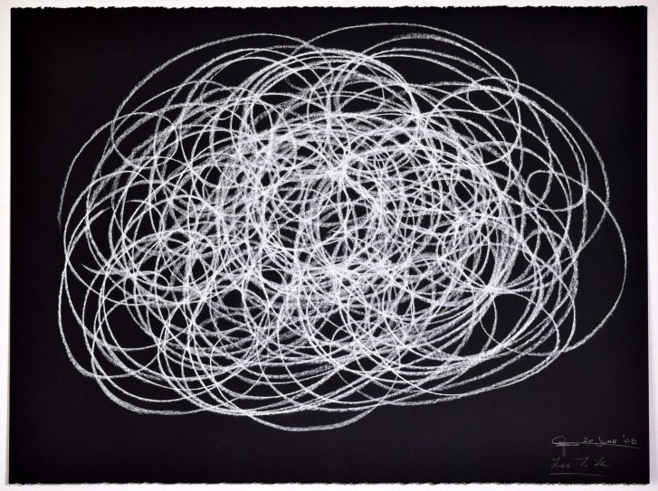 """Automatic Drawing #13, 20 June 2008, conte crayon on paper, 22x30"""", Lee Tuyet Le & Glenn Zucman"""