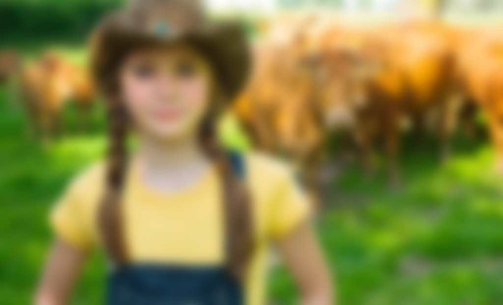 a blurred image of a girl in a farm setting