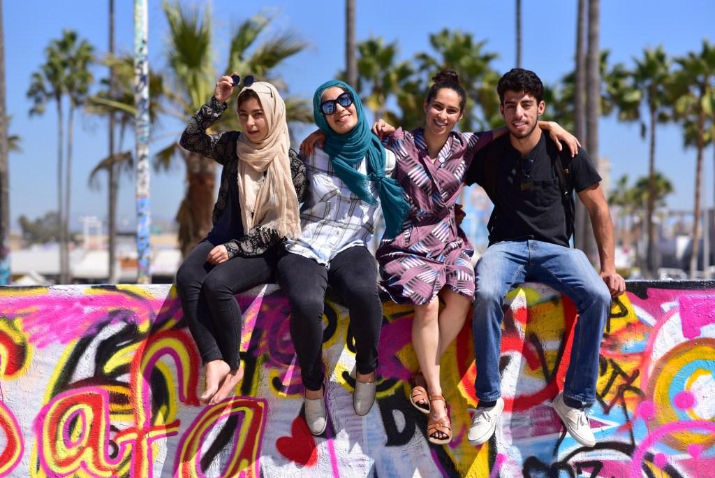 Students at the Venice Beach Legal Art Walls