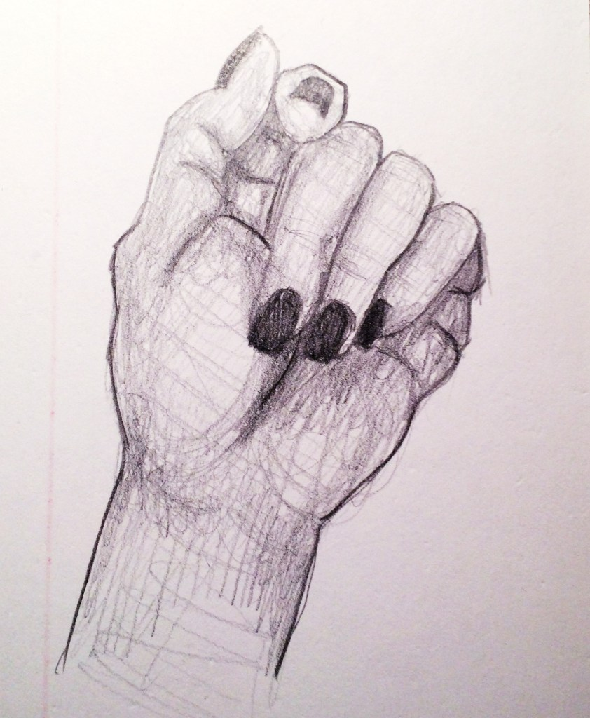 sketch of her own hand by Maria Romo