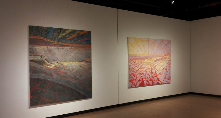 2 oil paintings on a long wall in the CSULB School of Art's Gatov Gallery East
