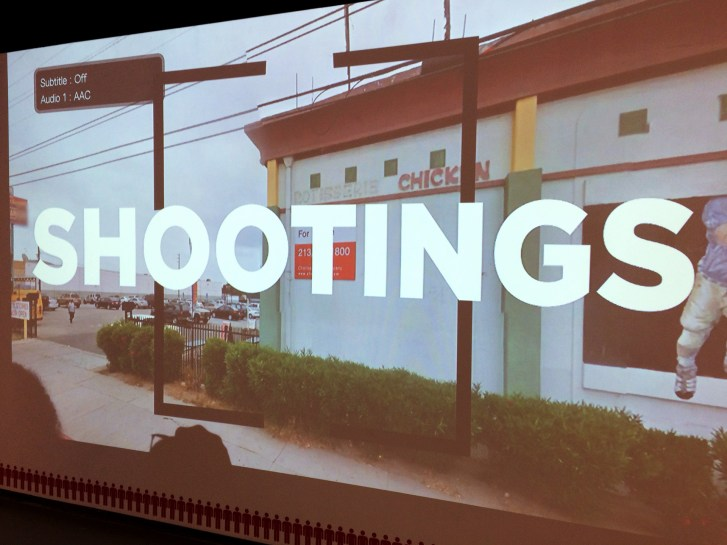 "wall projection of a Middle-American location with large superimposed text ""shootings"""