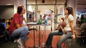 Glenn Zucman in conversation with singer-songwriter Angie Mattson at KBeach Radio at Long Beach State University.