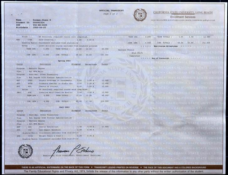 Glenn Zucman's Master of Fine Arts transcript from California State University, Long Beach