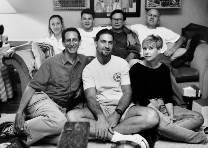 black-and-white photo of Blachowski, Baxted, Freeman, Graham, Zucman, Fieberg & Hamm in the living room of Clare Graham & Bob Breen's home in Los Angeles, California