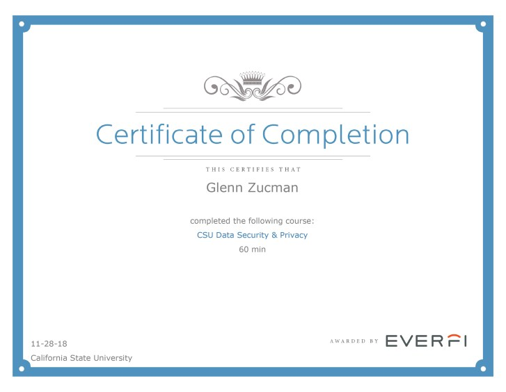Glenn Zucman's certificate for CSU Data Security & Privacy course