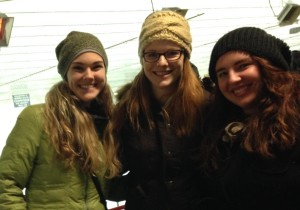 Ali, Katherine and Angie at a hockey game