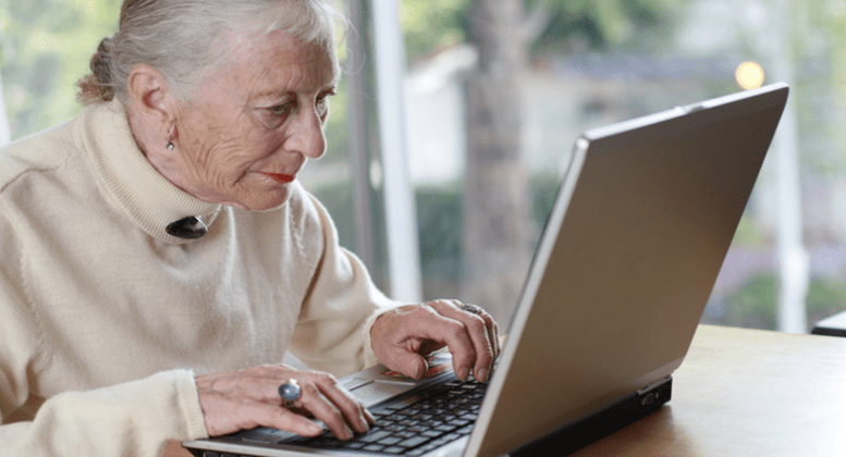 Pensioner with laptop