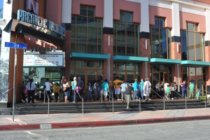 Patiently waiting for doors to open on Hotel Transylvania 2 screening. (2015)