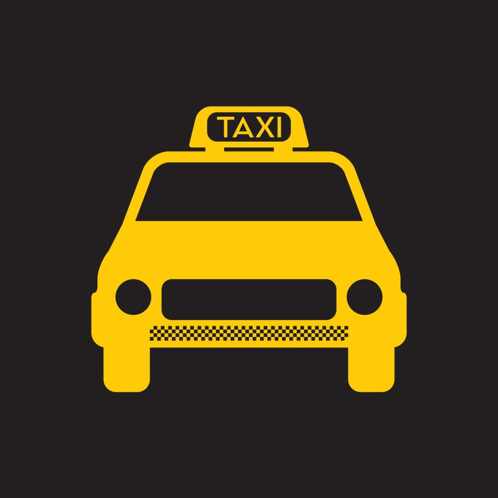 Yellow cab design on black background