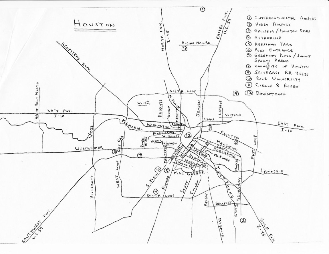 """Author's map of Houston showing streets mentioned in """"The Passengers"""""""