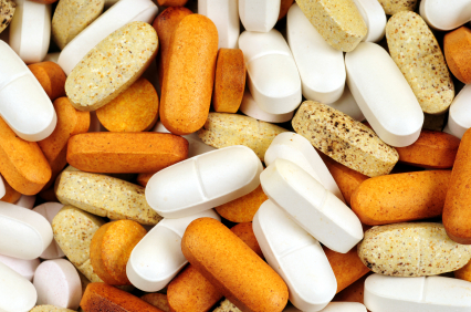 Pile of dietary supplements