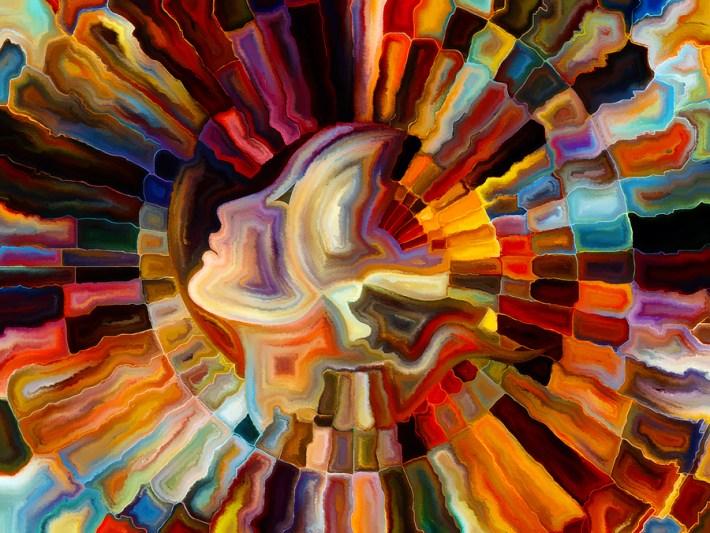 Visually attractive backdrop made of human face abstract.