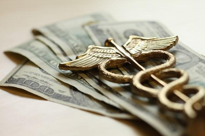 Photo of Caduceus on U.S. money.
