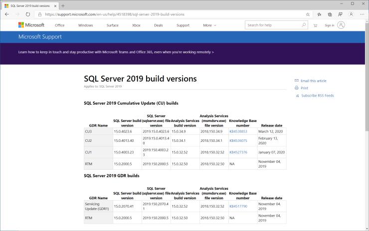SQL Server 2019 Build Versions