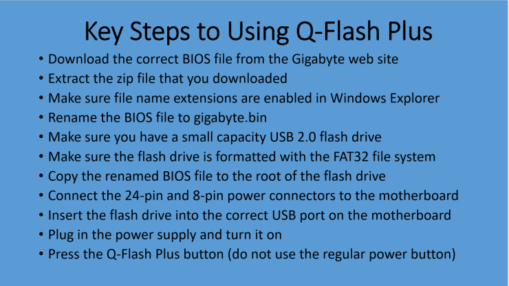 High Level Steps For Using Q-Flash Plus