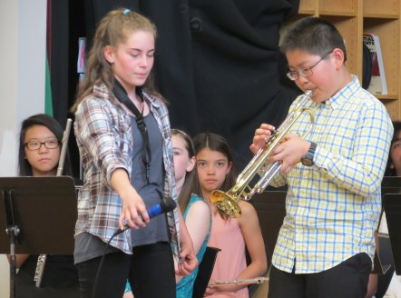 """6th-grade trumpeter takes solo during """"Louie, Louie"""""""