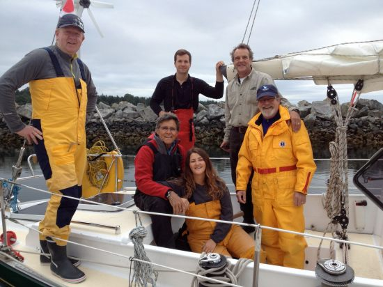 Swiftsure 2013 crew (l-r) James Houston, David Pennington (standing in back) Peter Knox, Glenn, Nicola Wakefield, Michael King-Brown. Photo: Brenda King-Brown.