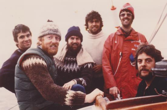 Swiftsure circa 1983 crew (l-r) Hugh Owen, James Houston, Michael King-Brown, Glenn Wakefield, Peter Brand, Peter Knox.