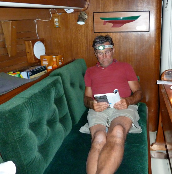 reading down below on West Wind II, Aug, 2011