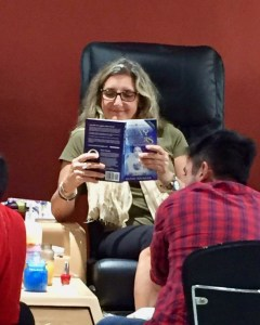 Karen Ross reading WAYMAKERS, a spiritual fiction novel by Glenn Younger