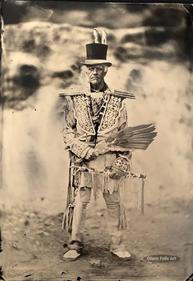 Image of Glens Falls Art tintype of an american indian reenact by Craig Murphy.