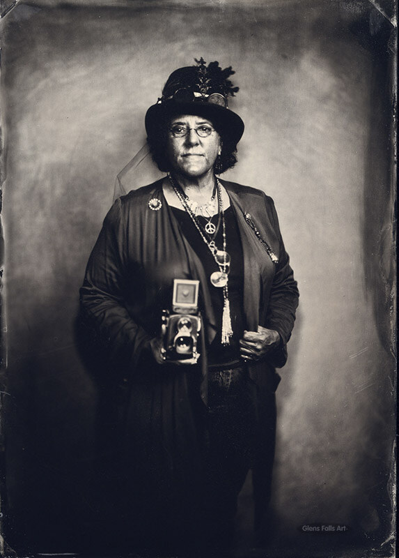 Fine art collodion tintype portrait of a woman dressed in steampunk by fine art photographer Craig Murphy.