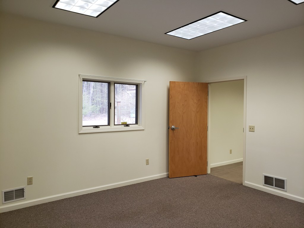 A room with white walls, a small window, and a wooden door.