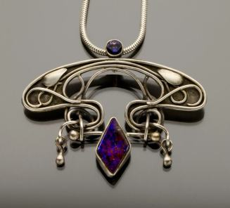 opal and iolige art nouveau purple pendant