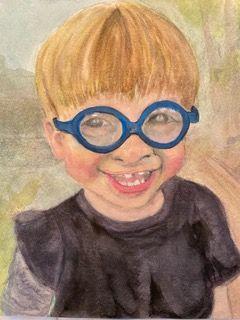 JoAnne Tatge, Watercolor called Louie is two.