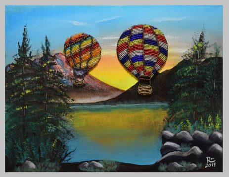 """""""Air Balloons Festival,"""" 2019, 14"""" W by 11"""" H, acrylic on canvas and hand-beaded balloons, price: $85 (unframed)"""