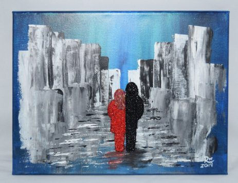 """""""Couple in Love,""""2019, 14"""" W by 11"""" H, acrylic on canvas with hand-beaded couple, $70 (unframed)"""
