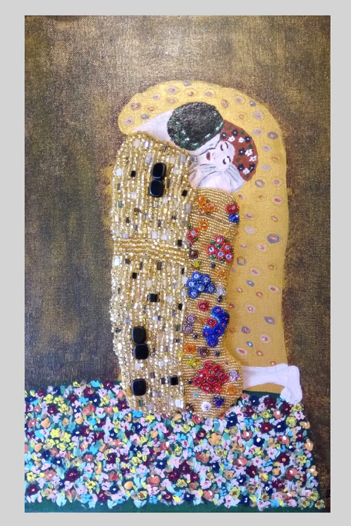 """""""Kiss - inspiration of Gustav Klimt,"""" 2019,11.75"""" W by 15.75"""" H,acrylic on canvas with hand-beaded detail dresses, $155 (unframed)"""