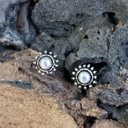 Sterling Floral Stud Earrings