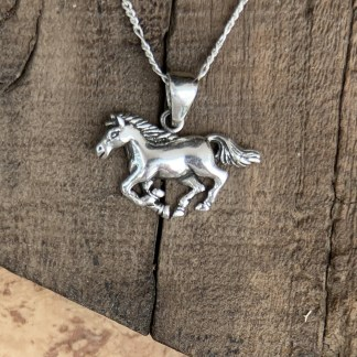 Sterling Galloping Horse Pendant