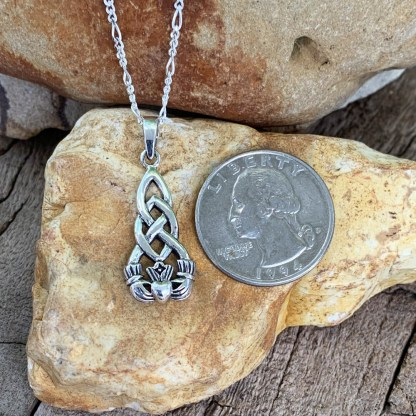 Sterling Vertical Claddagh Pendant