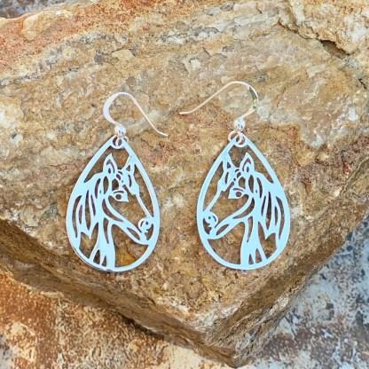 Sterling Silver Horse Head Earrings