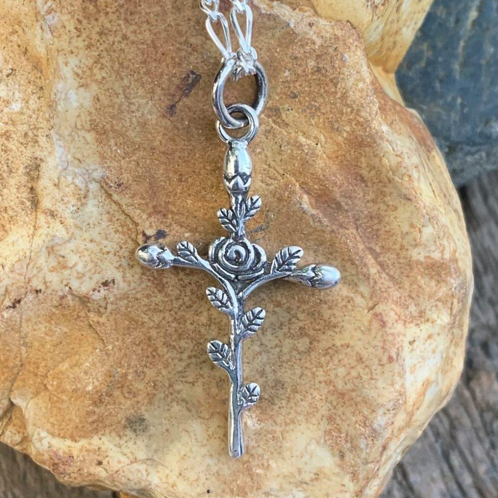 Sterling Rose Cross Pendant