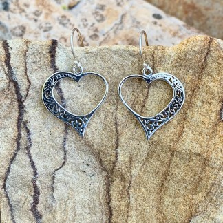 Sterling Romantic Heart Earrings