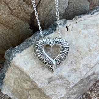 Sterling Open Heart Necklace