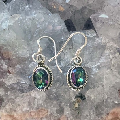 Mystic Topaz Faceted Earrings