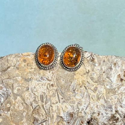 Amber & Sterling Stud Earrings