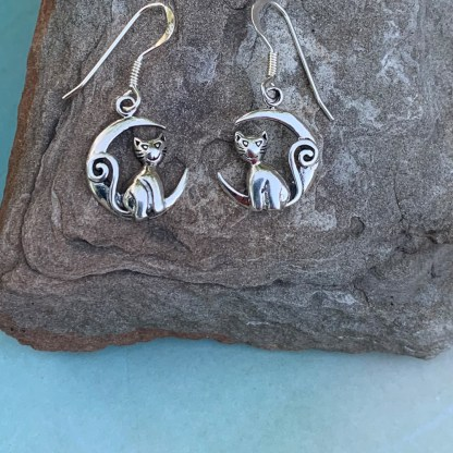 Sterling Cat & Moon Earrings