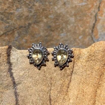 Citrine & Silver Stud Earrings