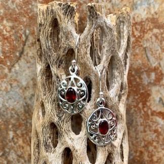 Garnet & Silver Dangle Earrings