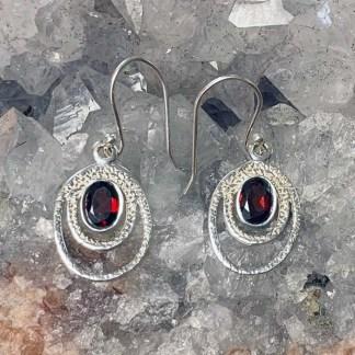 Garnet & Sterling Loop Earrings