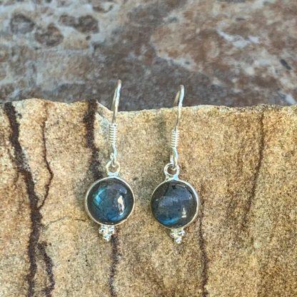 Labradorite Round Dangle Earrings